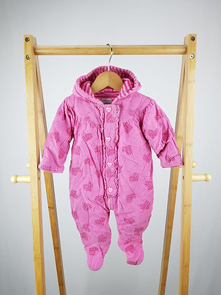 Pitter Patter pink cord pramsuit 3-6 months