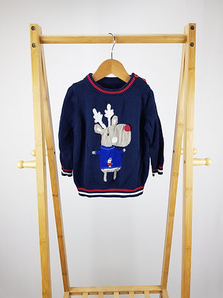 George reindeer knitted sweater 12-18 months