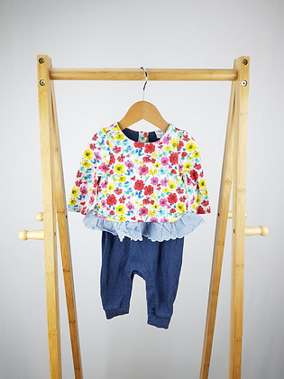 GAP long sleeve floral all-in-one 3-6 months