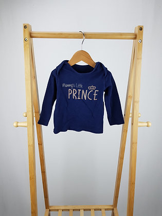 George navy long sleeve pyjama top 9-12 months