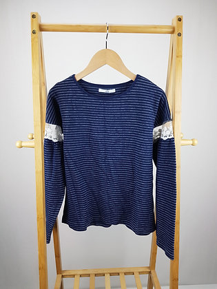M&S blue lace detail sweater 12-13 years