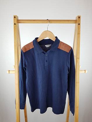 Flip back navy long sleeve polo 11-12 years