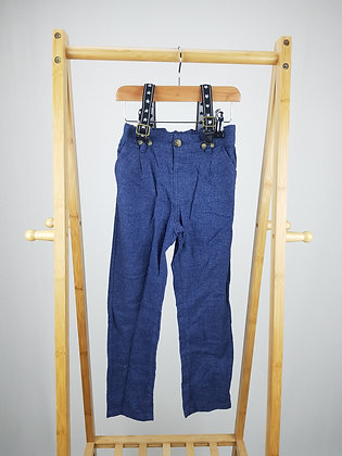 Matalan blue trousers with braces 5-6 years