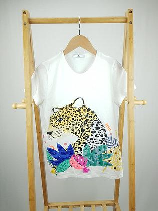 M&S leopard diamante detail t-shirt 12-13 years