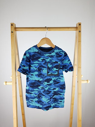 F&F blue camouflage t-shirt 5-6 years