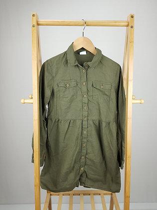F&F khaki long sleeve shirt dress 11-12 years