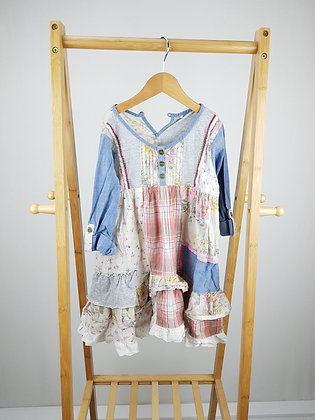 Next long sleeve patchwork dress 7 years