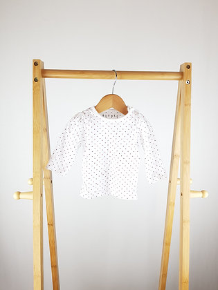 Nutmeg white spotted long sleeve top 3-6 months