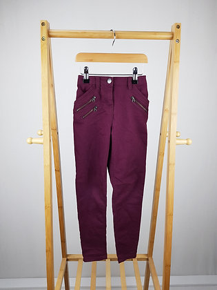 George burgundy denim trousers 7-8 years