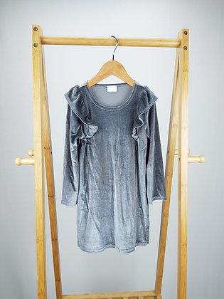 F&F long sleeve ruffle velvet dress 4-5 years