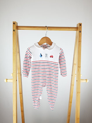 Nutmeg striped collar babygrow 0-3 months
