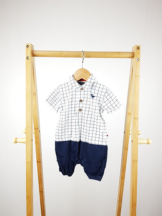 F&F checked dino polo romper 9-12 months