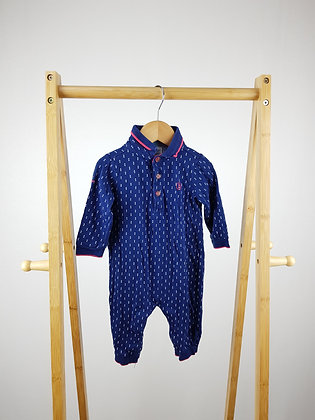 Ted Baker blue patterned all-in-one 6-9 months