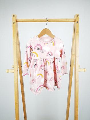 F&F long sleeve rainbow dress 12-18 months