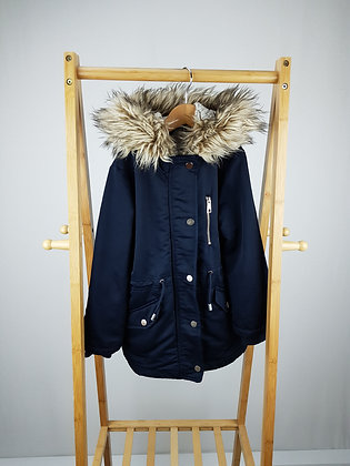 F&F navy coat with faux fur trim  6-7 years