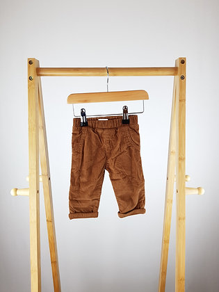 F&F brown lined cord trousers 0-3 months
