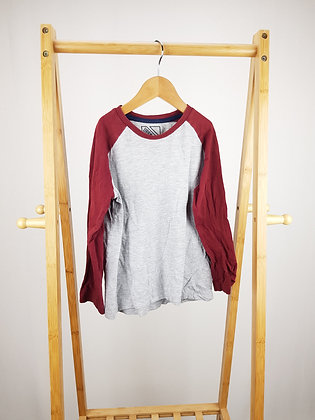 Matalan grey/burgundy long sleeve top 7 years