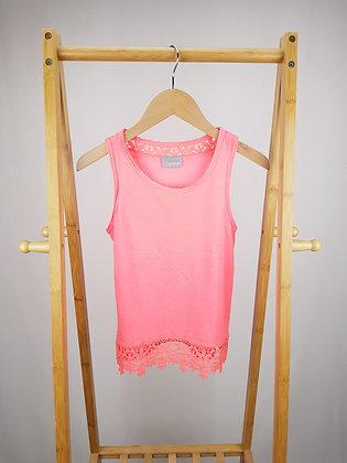 Matalan neon pink crochet lace trim top 8 years