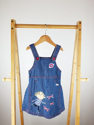 M&S Charlie&Lola denim pinafore dress 3-4 years