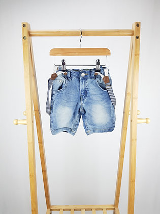 Little kids denim shorts with braces 4-5 years