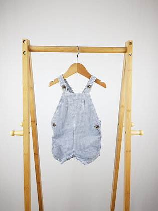F&F striped short dungarees 6-9 months
