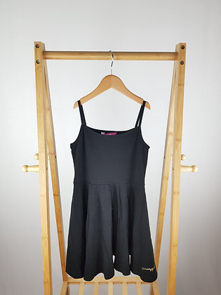 Pineapple black strappy dress 8-9 years