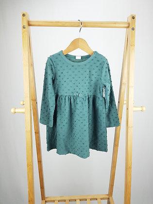 H&M green long sleeve dress 18-24 months