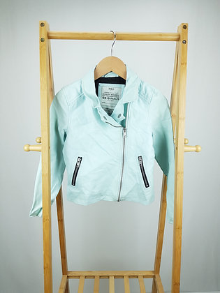 M&S pale green faux leather jacket 8-9 years