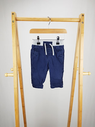 Bluezoo lined navy trousers 3-6 months