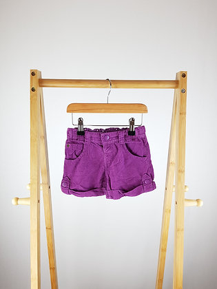 M&S purple cord shorts 2-3 years