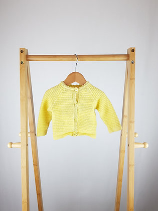 F&F yellow knitted cardigan 0-3 months