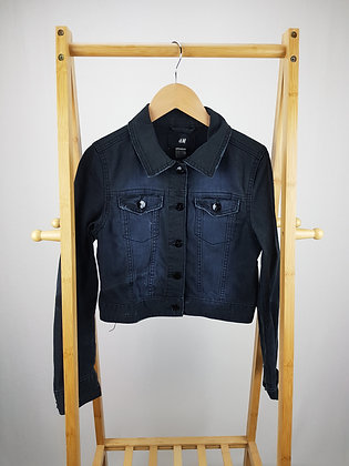 H&M black denim jacket 13-14 years