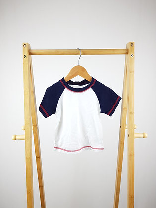 Mothercare white/navy t-shirt 9-12 months