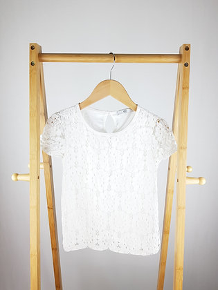 M&S white lace top 9-10 years