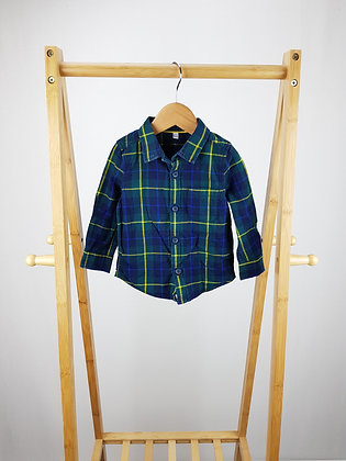 M&S long sleeve checked  shirt 9-12 months
