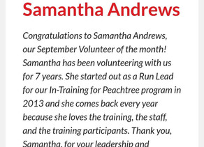 Atlanta Track Club Sept Volunteer of the Month