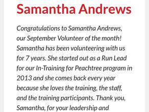 Atlanta Track Club Sept Volunteer of the Month