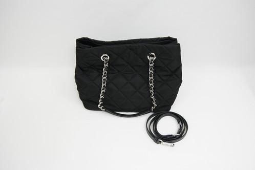 ea6bf3d9d86e Prada 1BG740 Tessuto Impuntu Nylon Convertible Bag with Chain ...