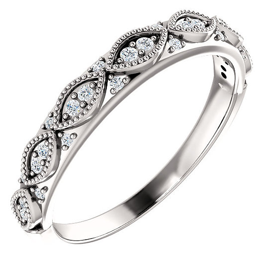 14k White Gold Diamond Vintage Stackable Band