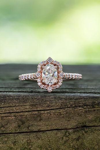 14k Rose gold Vintage Lab Grown Diamond Engagement Ring