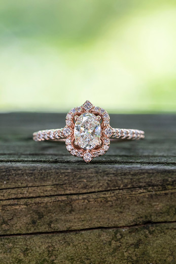 14k Rose gold Vintage Lab Grown Diamond Engagement Ring