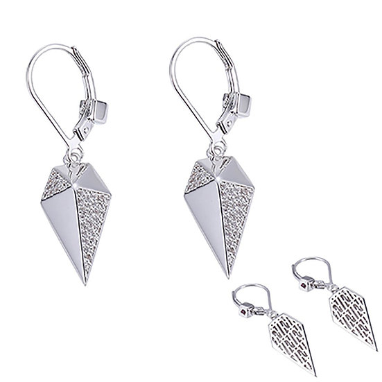 ELLE Sterling Silver and CZ Earrings