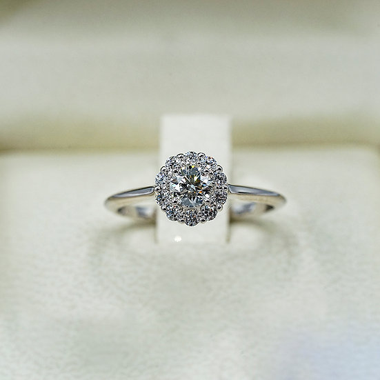 14k White Gold Hearts on Fire Diamond and Cluster Engagement ring