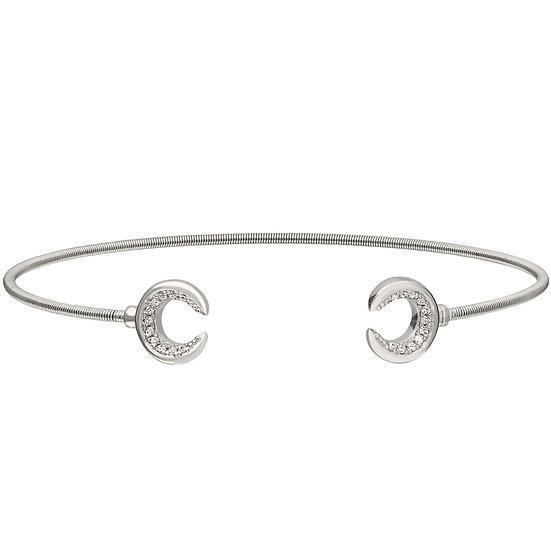 Bella Cavo Sterling Silver Flexible Crescent Moon Bracelet