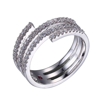 ELLE Sterling Silver and CZ Line Ring