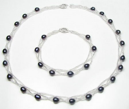 Sterling Silver Black Fresh Water Cultured Pearl Set