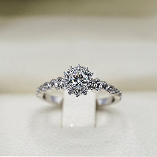 14k White Gold Hearts on Fire Diamond Scroll and Cluster Engagement ring