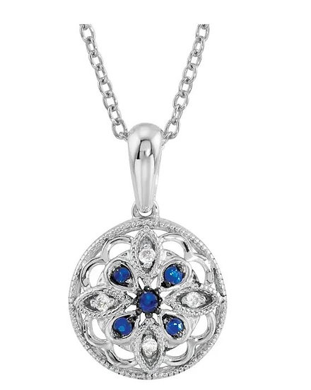 Sterling Silver Diamond and Sapphire Necklace