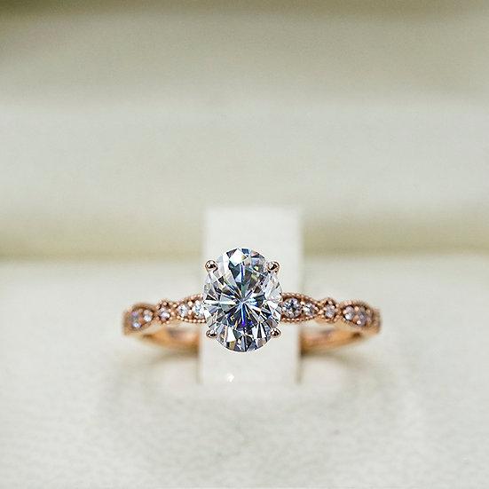 14k Rose Gold Vintage-Inspired Moissanite Engagement ring