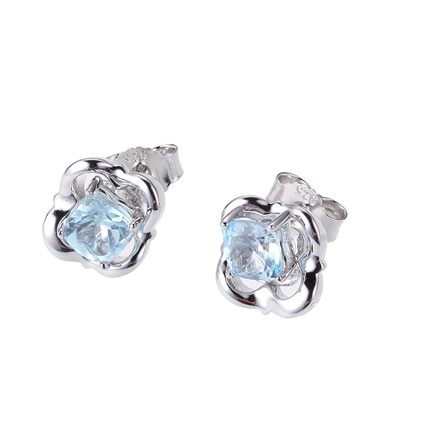 ELLE Swiss Blue Topaz and Sterling Silver Earrings